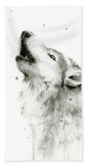Howling Wolf Watercolor Hand Towel