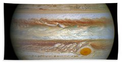 Bath Towel featuring the photograph Hubble Captures Vivid Auroras In Jupiter's Atmosphere by Nasa
