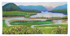 Hand Towel featuring the painting Hudson River In Summer by Polly Castor