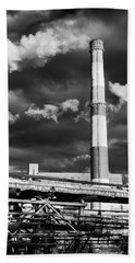 Huge Industrial Chimney And Smoke In Black And White Hand Towel by John Williams
