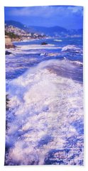Bath Towel featuring the photograph Huge Wave In Ligurian Sea by Silvia Ganora