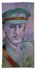 Bath Towel featuring the painting Hugo Throssel Vc by Ray Agius