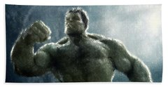 Hulk Oil Pastel Sketch Hand Towel