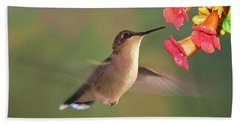 Hand Towel featuring the photograph Hummer With Trumpet Vine Flowers by Judy Johnson