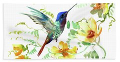 Hummibgbird And Yellow Flowers Hand Towel