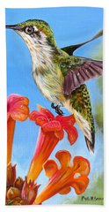 Bath Towel featuring the painting Hummingbird And A Trumpet Vine 2 by Phyllis Beiser