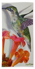 Hand Towel featuring the painting Hummingbird And A Trumpet Vine by Phyllis Beiser