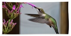 Hummingbird And Agastache Bath Towel