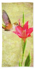 Hand Towel featuring the digital art Hummingbird And Flower by Christina Lihani