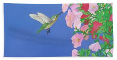 Hummingbird And Petunias Hand Towel