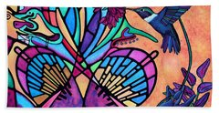 Bath Towel featuring the painting Hummingbird And Stained Glass Hearts by Lori Miller