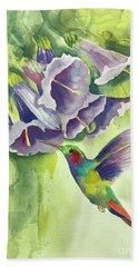 Hummingbird And Trumpets Bath Towel