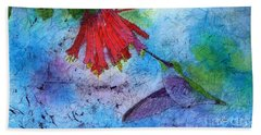 Hummingbird Batik Watercolor Hand Towel