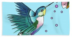 Hummingbird Blue Hand Towel