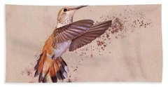 Bath Towel featuring the photograph Hummingbird Color Splash I by Leda Robertson