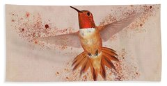 Bath Towel featuring the photograph Hummingbird Color Splash II by Leda Robertson