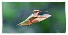 Bath Towel featuring the photograph Hummingbird Flying by Meta Gatschenberger