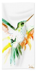 Hummingbird Green Orange Red Hand Towel
