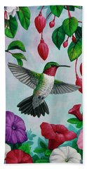 Hummingbird Greeting Card 2 Hand Towel by Crista Forest