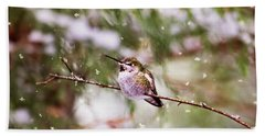 Hand Towel featuring the photograph Hummingbird - Let It Snow  by Peggy Collins