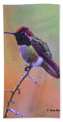 Hummingbird On A Stick Bath Towel