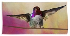 Hummingbird On A Wire Bath Towel