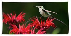 Hummingbird On Flowers Bath Towel