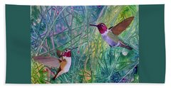Hand Towel featuring the painting Hummingbird Pair by Nancy Jolley
