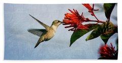 Hummingbird Red Flowers Hand Towel