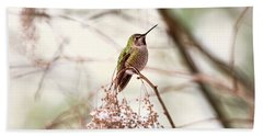 Bath Towel featuring the photograph Hummingbird Sitting On Snowy Branch by Peggy Collins