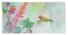 Hummingbird Summer Bath Towel by Christina Lihani