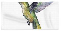 Hummingbird Watercolor Illustration Bath Towel