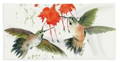 Hummingbird Watercolor Hand Towel