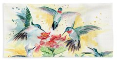 Hummingbirds Party Bath Towel by Melly Terpening