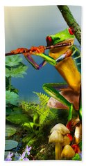 Humorous Tree Frog Playing The Flute  Hand Towel