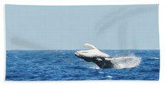 Humpback Smackdown Off Bermuda Hand Towel by Jeff at JSJ Photography