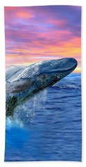 Humpback Whale Breaching At Sunset Bath Towel