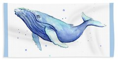 Humpback Whale Watercolor Hand Towel by Olga Shvartsur