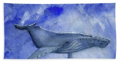 Humpback Yearling Under Our Boat Hand Towel by Randy Sprout