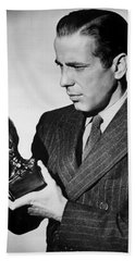 Humphrey Bogart Holding Falcon The Maltese Falcon 1941  Bath Towel