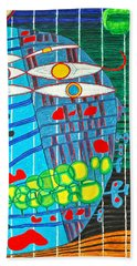 Hundertwasser Blue Moon Atlantis Escape To Outer Space In 3d By J.j.b Hand Towel