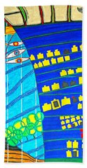 Hundertwasser Blue Moon Atlantis Escape To Outer Space Hand Towel