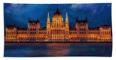 Hungarian Parliament At Night Hand Towel
