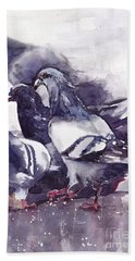 Hungry Pigeons Watercolor Hand Towel