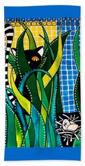Hunter In Camouflage - Cat Art By Dora Hathazi Mendes Bath Towel