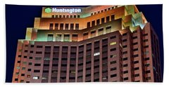 Hand Towel featuring the photograph Huntington Bank Cleveland by Frozen in Time Fine Art Photography