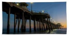 Huntington Beach Pier At Dusk Hand Towel