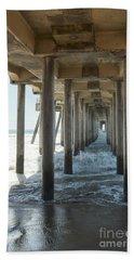 Bath Towel featuring the photograph Huntington Beach Pier From Below by Ana V Ramirez