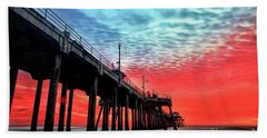 Huntington Beach Pier Sunset Hand Towel