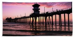 Huntington Pier At Sunset 2 Hand Towel